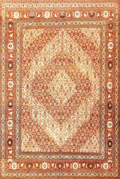 Antique Persian Tabriz Rug, Country of Origin: Persia, Circa Date: Mid 20th Century  8 ft x 11 ft 8 in (2.44 m x 3.56 m)