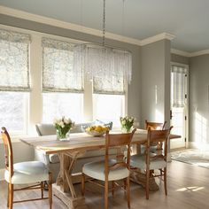 """""""Wales Gray 1585 Benjamin Moore paint for the ceiling in this dining room, Norther Cliffs 1536 by Benjamin Moore for walls"""""""