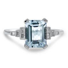 Aquamarine and Diamond Baguette Ring.