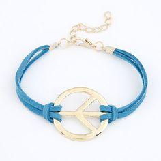 Gold Blue Leather Peace Bracelet [B1741] | FashionJewelryTV.com