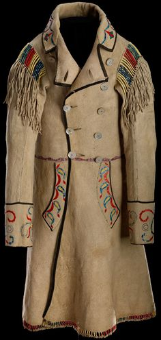 Cree Métis coat 1874 Red River Hide, mother of pearl buttons, silk ribbon, porcupine quill, dyes 116 x 97 cm Purchase Native American Clothing, Native American Beauty, Native American Crafts, Native American Artifacts, Native American History, Native American Indians, Gaucho, Sculpture Textile, Native Indian