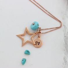 Personalise this gorgeous shiny sterling silver, rose gold or gold star pendant necklace with her initial and turquoise birthstone charms to create a unique keepsake gift for her. Birthstone Charms, Birthstone Necklace, Star Necklace, Pendant Necklace, Pendant Jewelry, Turquoise Birthstone, December Birthday, Letter Charms, Star Pendant