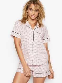 Shop sleepwear for women and choose from styles in silk, flannel, cotton and more! Get the perfect pajamas to fit any mood, from soft and cozy to sexy silk now at Victoria's Secret. Sleepwear Women, Pajamas Women, Lingerie Catalog, Victoria's Secret, Victoria Secret Pajamas, Black Dots, Pj Sets, Cotton Shorts, Workout Shorts