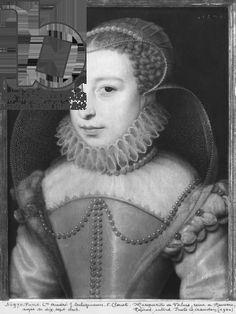 MARGUERITE DE VALOIS 1553-1615 queen of France reine Margot ged 17, 1570 (oil on panel) ATIFET veil over ESCOFFION PROVENANCE school of Clouet, 1570, private collection, photo Bridgeman art