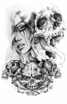 Evil Skull Tattoo, Evil Tattoos, Chicano Tattoos, Skull Tattoos, Body Art Tattoos, Sleeve Tattoos, Rose Drawing Tattoo, Tattoo Design Drawings, Skull Tattoo Design