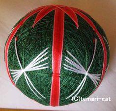 てまり「朱竹と鶴」緑地 手まり 手毬 手鞠