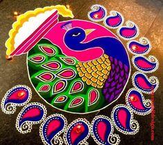 50 New Rangoli Designs (Rangoli Ideas) - October 2019 Rangoli Designs Peacock, Easy Rangoli Designs Diwali, Rangoli Designs Latest, Simple Rangoli Designs Images, Free Hand Rangoli Design, Rangoli Patterns, Small Rangoli Design, Rangoli Border Designs, Rangoli Ideas