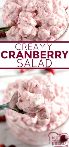 Creamy Cranberry Salad is made in minutes with only five ingredients! This cranberry salad recipe is made with fresh cranberries, crushed pineapple, whipping cream and marshmallows. Soup And Salad, Pasta Salad, Rice Salad, Shrimp Salad, Salad Bar, Egg Salad, Cobb Salad, Potato Salad, Recipes
