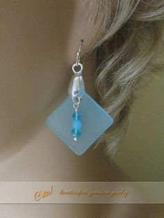 $12.99 Sea Glass & Chalcedony Pendant & Earrings Set - Here's To Beach Hair, Flip Flops, and Sandy Toes! by C'sta!