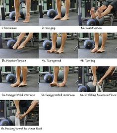 Foot Fitness Program- Strengthen feet to help combat genetics & shoe pressure for bunions & other foot issues. Fitness Workouts, Sport Fitness, Yoga Fitness, Fitness Tips, Fitness Motivation, Health Fitness, Ankle Strengthening Exercises, Foot Exercises, Foot Stretches