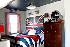Rustic Bedroom Ideas… Union Jack Flag hung by an antique pulley on a ...