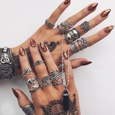 claws / rings / silver / tattoo / henna / bronze / metallic /