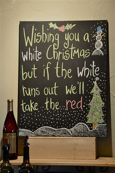 Christmas wine quote board - cute DIY gift idea for someone who enjoys wine... So cute