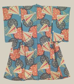 Meisen Kimono, Taisho (1912-1927). An early meisen kimono, featuring bold fan and ice-crystal motifs on a dusk-blue background. The Kimono Gallery