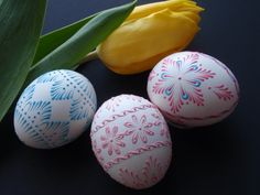 Decorated Easter Eggs Set of 3 Chicken Eggs Pysanky by EggstrArt, $29.95