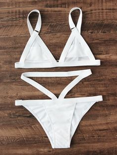 SheIn offers Strappy Triangle Bikini Set & more to fit your fashionable needs. Pin Up Swimwear, Trendy Swimwear, Cute Swimsuits, Cute Bikinis, Bikini Swimwear, Bikini Babes, The Bikini, Black Bikini, Cute Bathing Suits