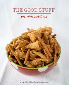 The Good Stuff | best snack mix ever!--made it.  Sticky and sweet but good. Caramel Bugles Recipe, Salty Snacks, Popcorn Snacks, Quick Snacks, Yummy Snacks, Diy Snacks, Snack Mixes, Snack Mix Recipes, Candy Recipes