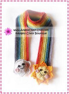 Crochet Colorful RAINBOW Sun and Cloud Scarf PDF Pattern