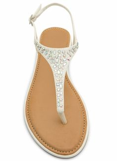 Embellished Tapered T-Strap Sandals