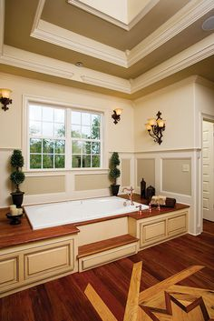Master bathroom from the Clarkson Plan 1117 http://www.dongardner.com/plan_details.aspx?pid=3007 From the cathedral ceiling, his-and-her walk-in closets and spacious master bath, the master suite promotes indulgence.  #Craftsman #Bathroom #House #Designs