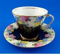 Art Deco Black and Floral Chintz Border Aynsley Tea Cup and Saucer Set ...