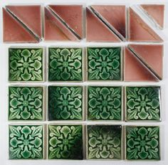 """Lot 201: Ceramic Tile Assortment by Trent Tile; Including eleven square """"Trent Tile Tenton, NJ USA"""" marked pieces with green glaze and stylized floral motif; together with ten unmarked mauve triangular tiles"""