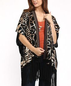 Love this Black & Tan Geometric Kimono on #zulily! #zulilyfinds