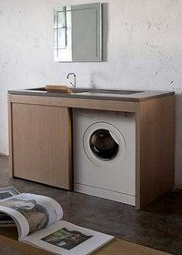 Linea Ponente - Filosofia Outdoor Laundry Rooms, Modern Laundry Rooms, Modern Bathroom Decor, Bathroom Wall Decor, Laundry Design, Laundry Decor, Laundry In Bathroom, Small Bathroom, Washing Machine In Kitchen