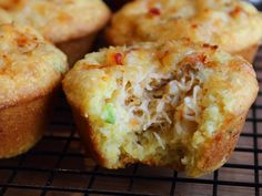 Learn how to make a Crab Stuffed Corn Muffins Recipe! Go to for the ingredient amounts, more information, and over 750 more video recipes! Enjoy this easy Crab Stuffed Corn Muffins Recipe!