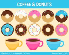 Donuts and Coffee Clipart - Digital Clip Art Graphics for Personal or Commercial Use
