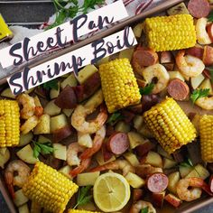 Sheet Pan Shrimp Boil made in the oven on a sheet pan. A simple and easy recipe where Old Bay Seasoning is the start of the show. Plenty of flavor and taste in a minimal amount of time. Shrimp Boil Recipe Old Bay, Shrimp Boil In Oven, Cajun Seafood Boil, Old Bay Shrimp, Seafood Boil Party, Seafood Boil Recipes, Cajun Recipes, Supper Recipes, Shrimp Recipes