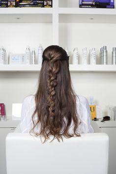 Braid and loose curls look