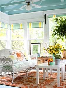 Colorful Sunroom Decor - want to paint the ceiling like this