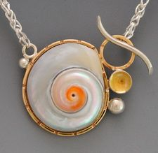 pearly snail toggle necklace
