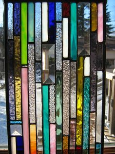 Stained glass skinny strips of color by stanfordglassshop on Etsy
