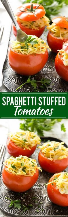 These baked stuffed tomatoes are full of spaghetti and topped with plenty of cheese. They're a fun and unique vegetarian side dish or main course! #spaghetti #dinner #comfortfood