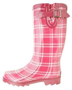 I need, okay fine - want,  these plaid, pop of pink, rain boots!