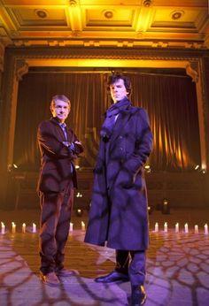 "Benedict Cumberbatch and Martin Freeman as Sherlock Holmes and John Watson--""Sherlock"""