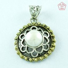 Traditional Fashion Jewelry 925 Silver Pearl Stone Pendant size 4 cm P2315 #SilvexImagesIndiaPvtLtd #Pendant