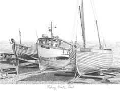 Drawing of Fishing Boats on Deal Beach, Kent