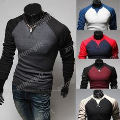 Fashion Tshirt Autumn Casual Men Patchwork Colorant by AnimeGift, $35.00