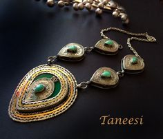 Green Malchite Necklace Tribal JewelryVintage by taneesijewelry, $225.00