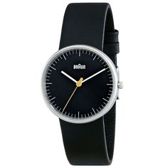 Braun BN0021 (small) watch in black with black leather strap by Braun. Available at Dezeenwatchstore.com #watches
