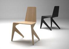 chaise design empilable de 2 façons. Caractéristiques de la chaise design empilable Mosquito  Designer : Michaël Bihain  Matériau: multiplex laqué blanc, noir ou finition chêne blanchi.  Dimensions: H.80 W.59 D.47 cm.