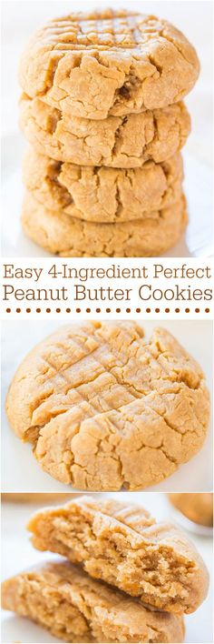 Easy 4-Ingredient Perfect Peanut Butter Cookies - Soft, chewy, and made with an ingredient you'd never guess! It works and they're perfect!! Perfect for any party!