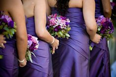 Bridesmaid bouquets to go with purple dresses