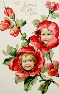 postcardiva postcard blog: Nister FANTASY GIRL FLOWERS EASTER Postcards