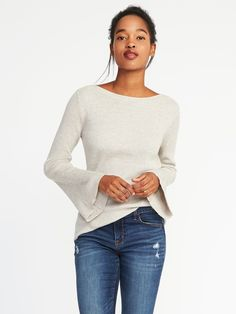 Rib-Knit Bell-Sleeve Sweater for Women $34.99 Regular extra small In palomino