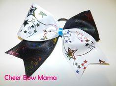 Black & White w/ Rainbow Stars Cheer Bow by Cheer Bow Mama