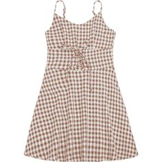 Lace Up Checked A Line Dress (1.010 RUB) ❤ liked on Polyvore featuring dresses, zaful, checkered dress, lace front dress, mini dress, lace-up dresses and brown a line dress